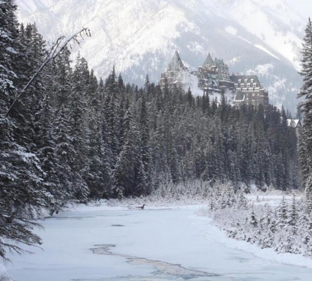 One of countless places I'd rather be, Canada's Banff National Park offers up an unparalleled winter wonderland.
