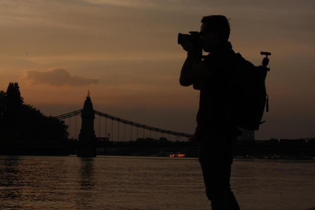 Capturing an image of a mate capturing an image at gloaming on London's Thames. ©